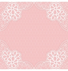 White-pink lace frame with a mesh background for vector