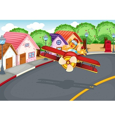 A plane at the village with a tiger vector image vector image