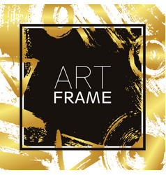 Art frame square gold gradient elements brush vector