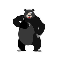 Baribal winks emoji american black bear thumbs up vector
