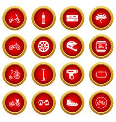 Biking icon red circle set vector