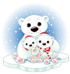 Christmas polar bear family vector