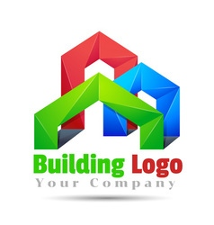 Commercial building volume logo colorful 3d design vector