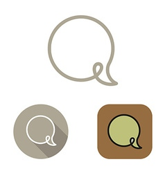 Contour social network babble icon and stickers vector image