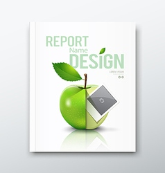 Cover Annual report green apple and instant photo vector image