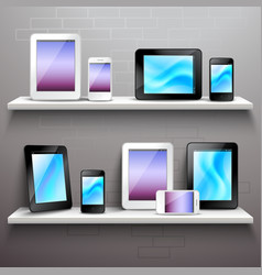 Devices On Shelves vector image vector image