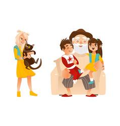 Flat afamily characters hugging set vector