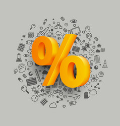 golden percent sign on icon background vector image vector image