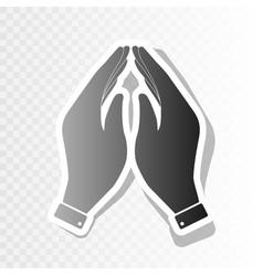 Hand icon prayer symbol new vector