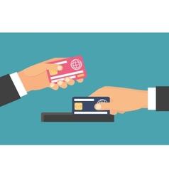 Hands holding money plastic card exchange transfer vector