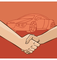 Handshake with car vector image vector image