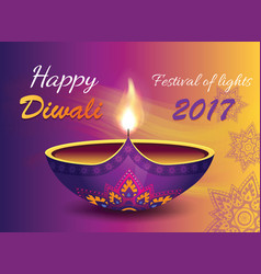 happy diwali 2017 banner on vector image