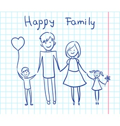 Happy family sketch vector