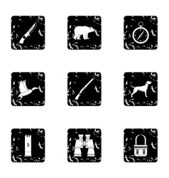 Hunting of animals icons set grunge style vector