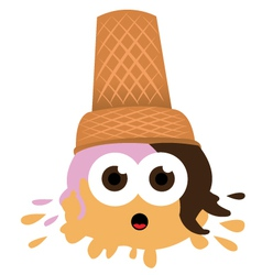 Ice Cream falls to the ground vector image