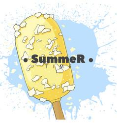 Ice cream in white glaze on a stick vector