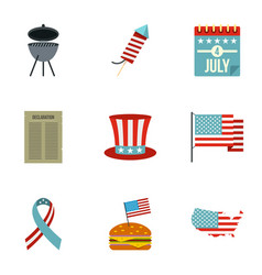 independence day icon set flat style vector image