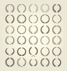laurel wreaths collection in different style vector image