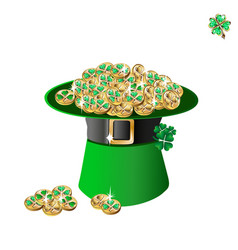 Leprechaun hat and gold vector