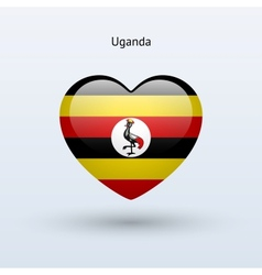 Love Uganda symbol Heart flag icon vector image vector image