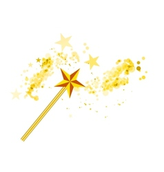 Magic wand with magic stars on white vector