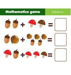 Mathematics workshhet counting eduational game vector