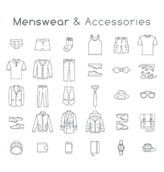 Men fashion clothes accessories flat line icons vector image vector image