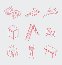 minimalistic isometric home renovation icons vector image