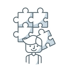 puzzle pieces game flat icon vector image vector image