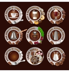 Set beautiful realistic badges of coffee vector image vector image