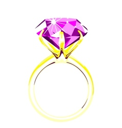 Solitaire - diamond ring vector image
