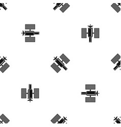 Space satellite pattern seamless black vector