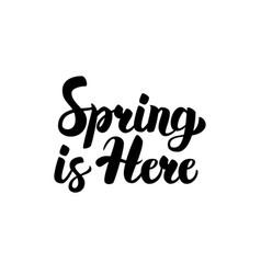 Spring is here handwritten lettering vector