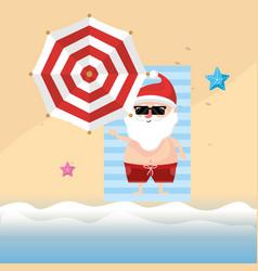 Summer holiday vacation with santa claus vector