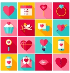 Valentines day love colorful icons vector
