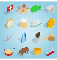 Switzerland set icons isometric 3d style vector image