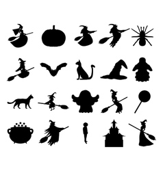Silhouettes set for halloween party vector