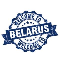 Belarus round ribbon seal vector