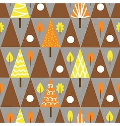 Seamless triangle tree autumn pattern forest vector
