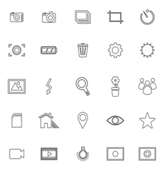 Photography line icons on white background vector