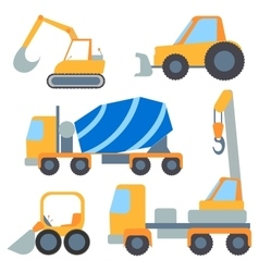 Set flet cars tractor carrier concrete mixer vector
