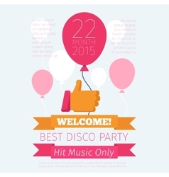 Celebrate or party poster with thumbs up and vector