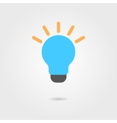 Blue bulb icon with shadow vector