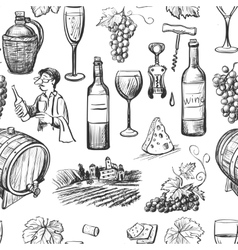 Hand drawn pattern of wine making vector