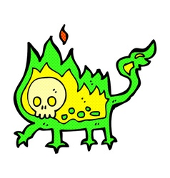 Comic cartoon little fire demon vector