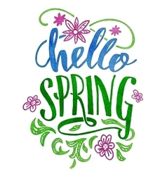 Hello spring watercolor hand lettering card vector