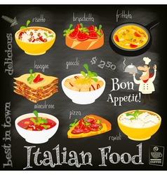 italian food chalk vector image