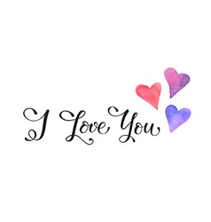 I love you w hearts vector
