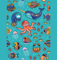 Aquatic animals seamless pattern vector