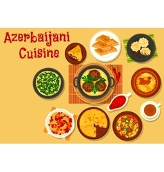 Azerbaijani cuisine dinner with dessert icon vector